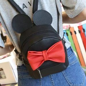 Handbags - Mouse ears mini black leather backpack